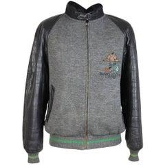 Iceberg jacket leather wool sheepskin grey man size 50 it made in italy vintage