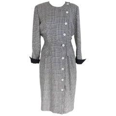 Valentino vintage wool check dress black and white size 48 mother of pearl butto