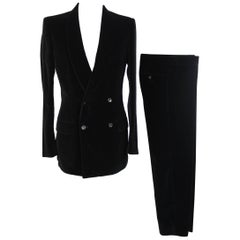 Tom Ford for Gucci black ribbed suit men's 1990s double-breastd jacket