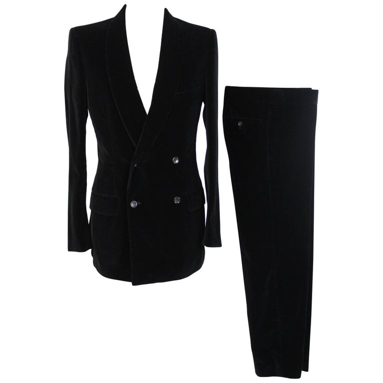 Tom Ford For Gucci Double Breasted Black Cotton Italian Pant Suit, 1990s
