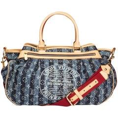 Louis Vuitton Blue Demin Monogram Porte Epaule Raye GM