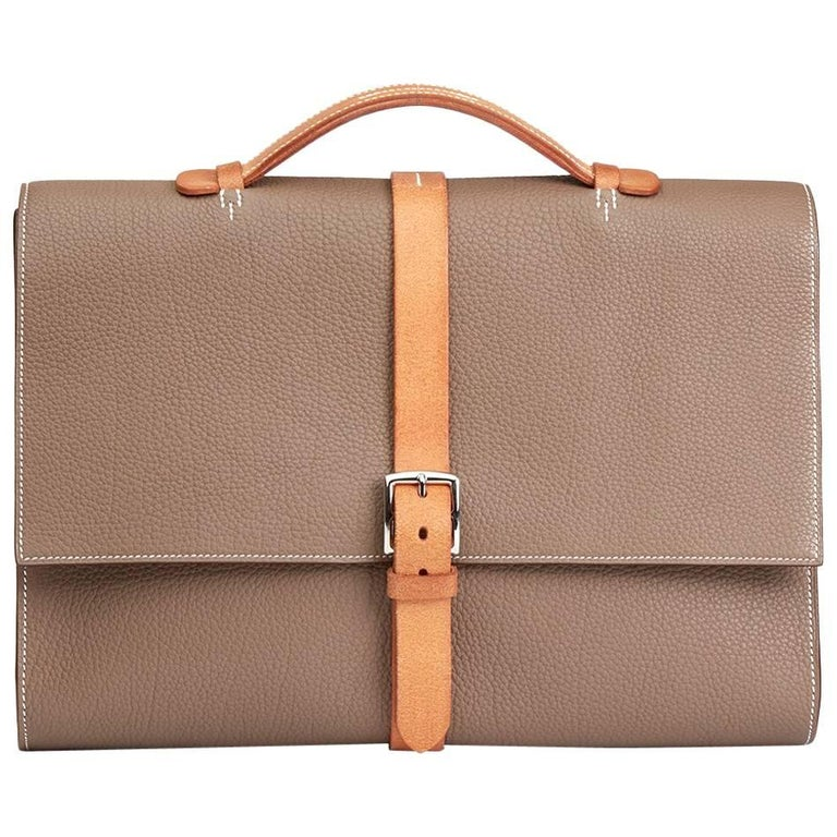 Hermes Etoupe Fjord Leather & Hunter Calfskin Leather Etriviere II