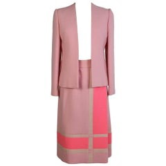Roberto Capucci 1970s skirt suit rose tailleur in wool mondrian geometric theme