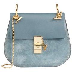 Chloe Cloudy Blue Suede & Calfskin Leather Drew
