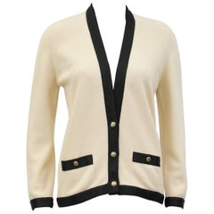 1990s Chanel Cream Cashmere Cardigan with Black Silk Trim