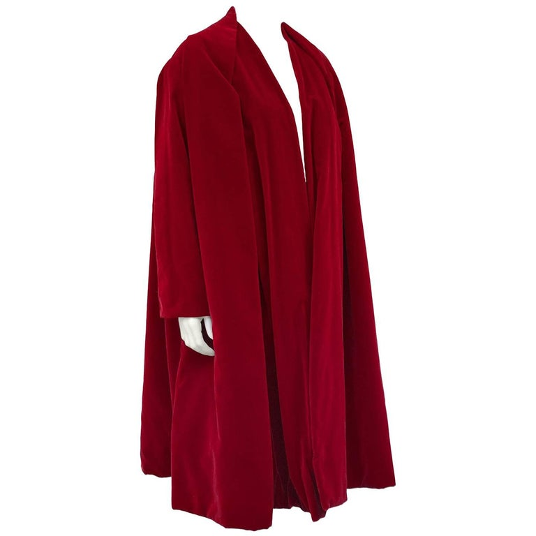 1950s Jacques Fath Bordeaux Velvet Evening Swing Coat