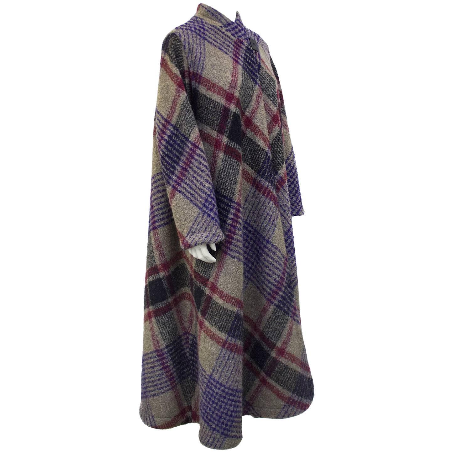 1970s Missoni Diagonal Tartan Long Wool Coat