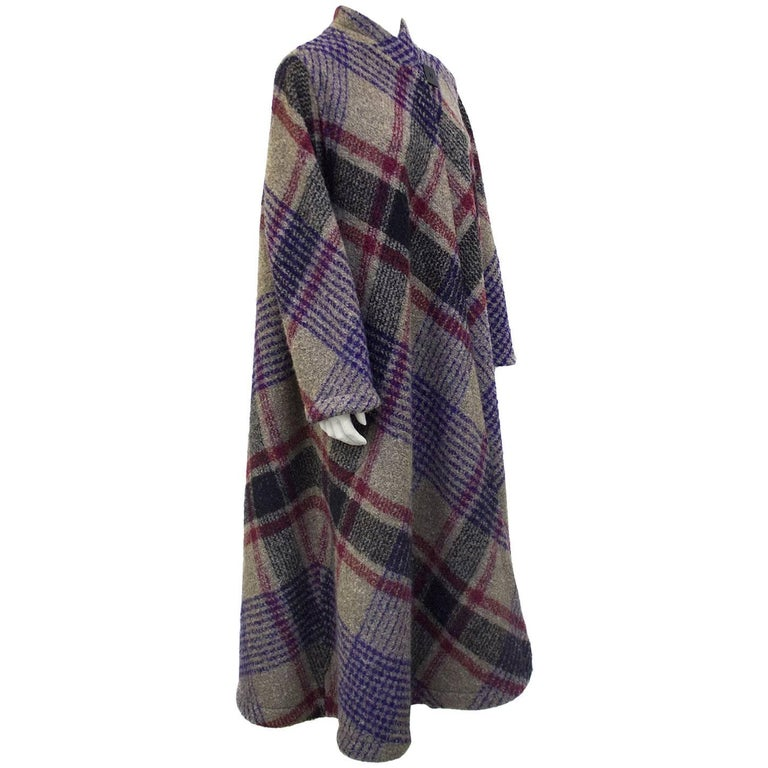 1970s Missoni Diagonal Tartan Long Wool Coat