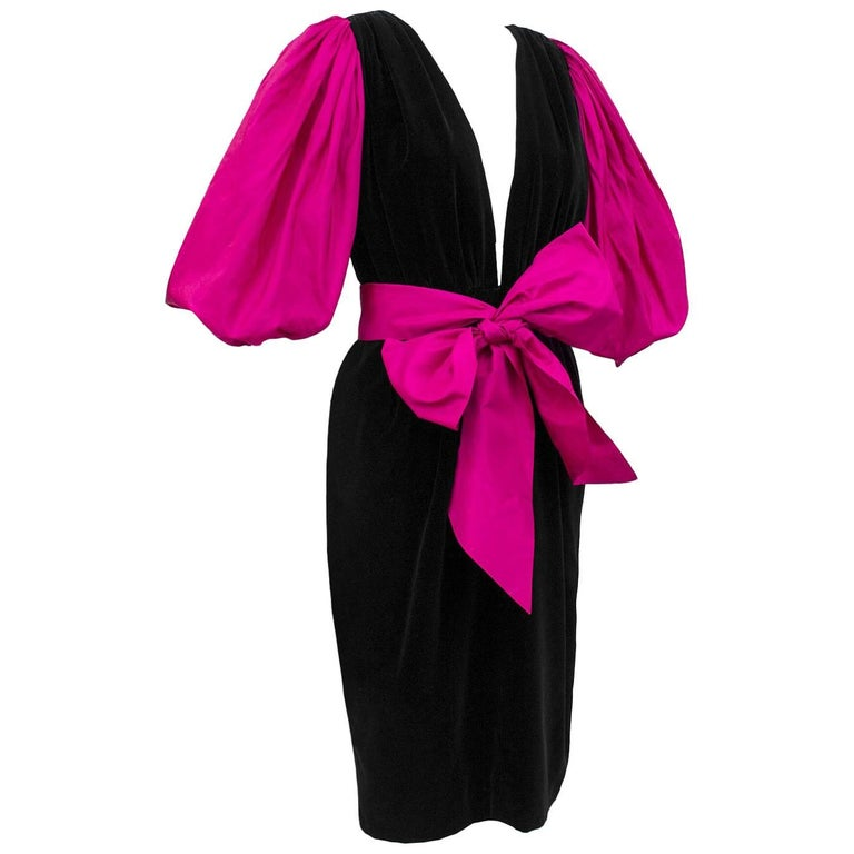 1980s Yves Saint Laurent/YSL Black Velvet  Dress with Pink Balloon Sleeves & Bow