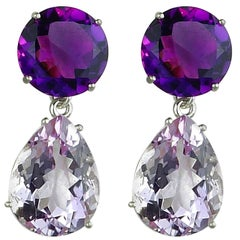 25.13 Carats of Amethysts and Rose of France Sterling Silver Stud Earrings