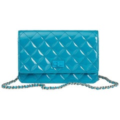 2015 Chanel Turquoise Quilted Patent Leather Reissue Wallet-On-Chain WOC