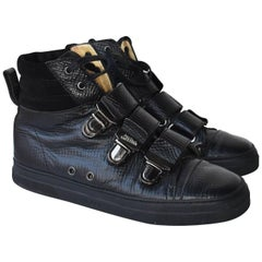 Jean Paul Gaultier Black Leather High Top Trainers