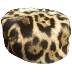 Saks Fifth Avenue Chic Stamped Animal Print Fur Pill Box Hat c 1960