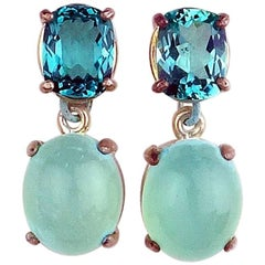 9.14 Carats of Apatite and glowing blue Chalcedony Sterling Silver Stud Earrings