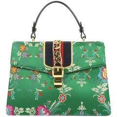 Gucci Sylvie Top Handle Bag Floral Jacquard Medium