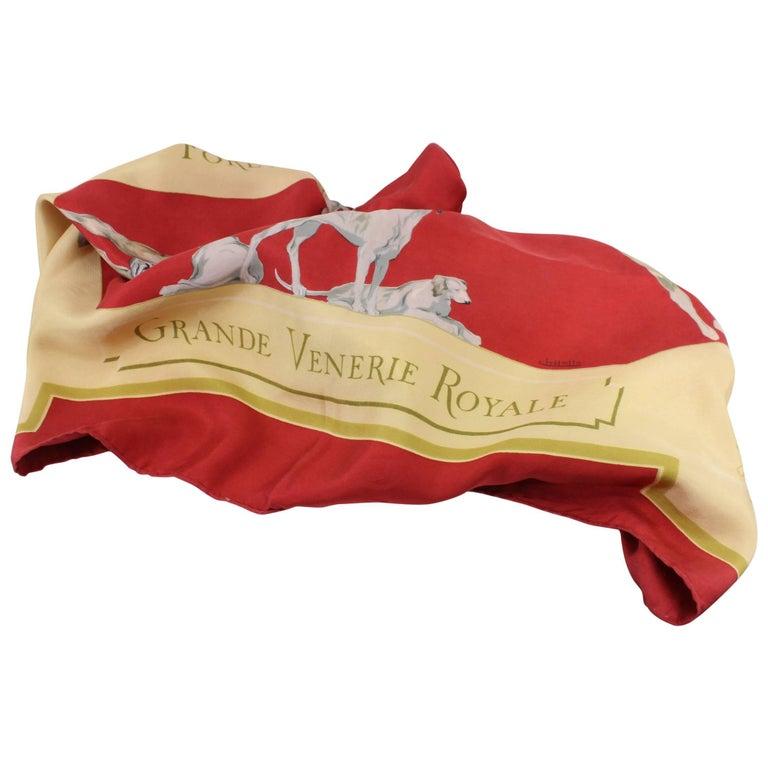 """Hermes """"Grande venerie Royal"""" Vintage Silk Scarf"""