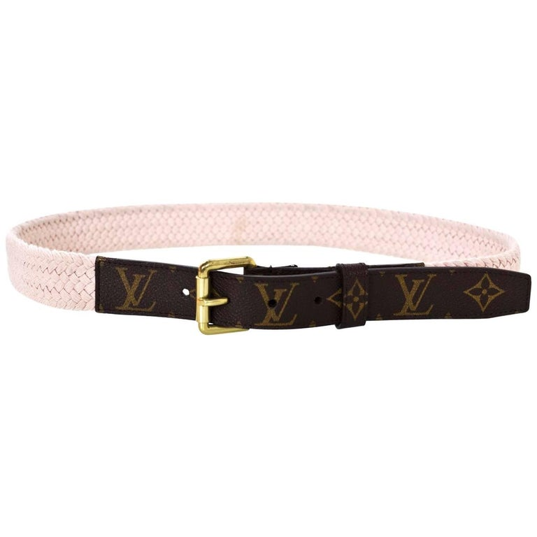Louis Vuitton Runway Pink Woven & Monogram Belt Sz 90