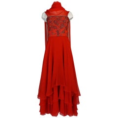 c1978 Nina Ricci Haute Couture Lesage Beaded Red Silk Chiffon Dress