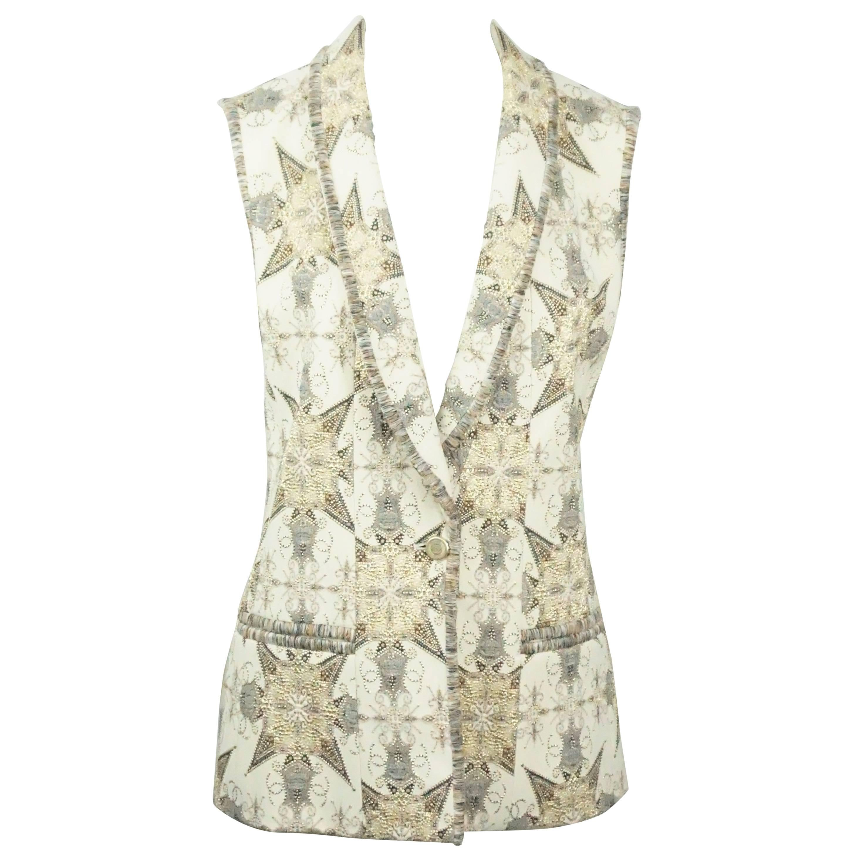 Chanel Cream and Metallic Silk Lined Brocade Vest-38-NWT-06A