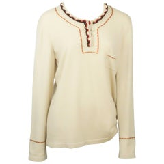 Chanel Tan Cashmere Sweater with Red and Black Cord Trim - 48 - 06A