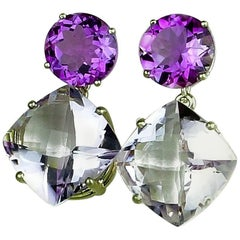 21.6 Carats of Amethysts in Dangling Sterling Silver Stud Earrings