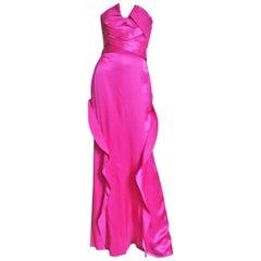 Versace Fuchsia Silk Strapless Gown
