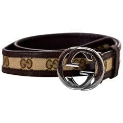 "Gucci Brown Monogram & Leather GG Belt Sz 80cm/32"""