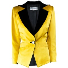 Yves Saint Laurent yellow satin tuxedo jacket, Fall 1988