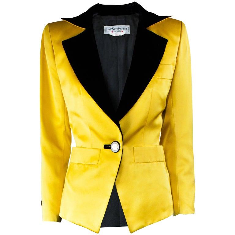 Yves Saint Laurent yellow satin tuxedo jacket, Fall 1988