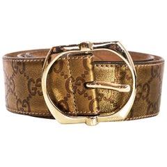 "Gucci Bronze Metallic Guccissima Monogram Leather Belt Sz 85/34"""