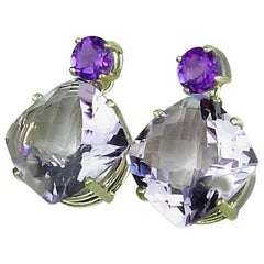 23.67 total Carats Amethyst and Rose of France Sterling Silver Stud Earrings