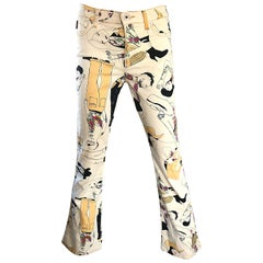 Moschino Vintage Flare Leg Novelty Print Size 26 Trousers Jeans, 1990s