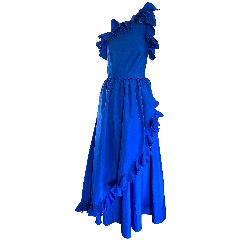 I Magnin Royal Blue One Shoulder Avant Garde Vintage Gown, 1980s