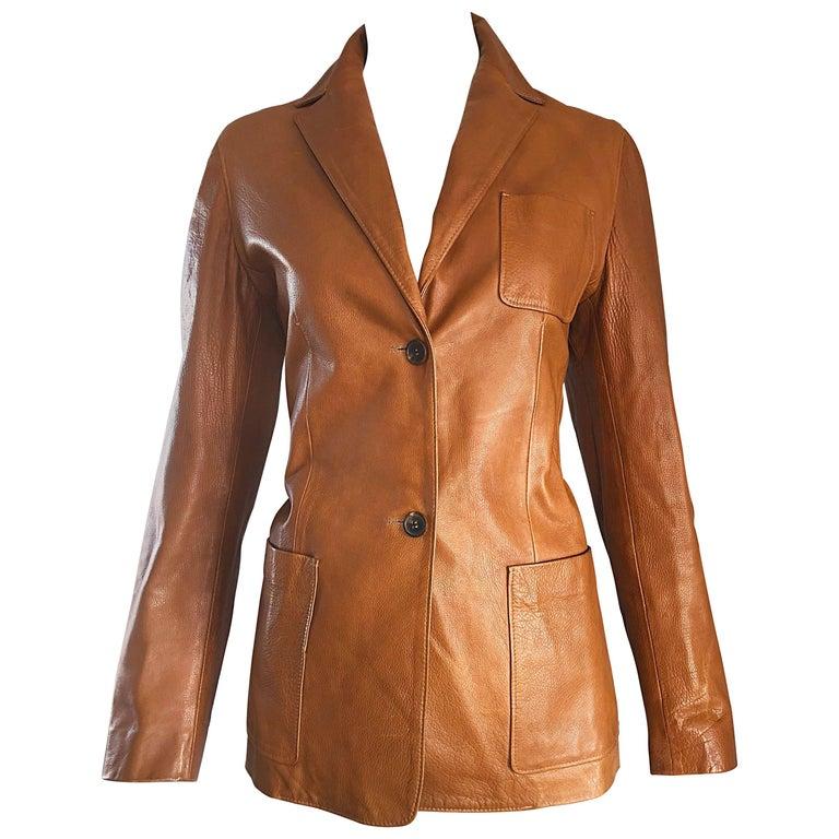 Jil Sander Camel Tan Brown Leather Size 38 Vintage Fitted Blazer Jacket, 1990s