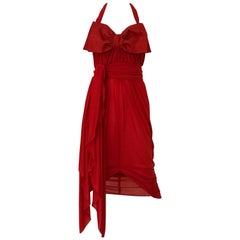 Red Jersey Vintage Halter Dress with Shawl