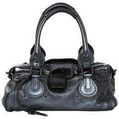 Chloe Blue Metallic Leather Paddington Bag