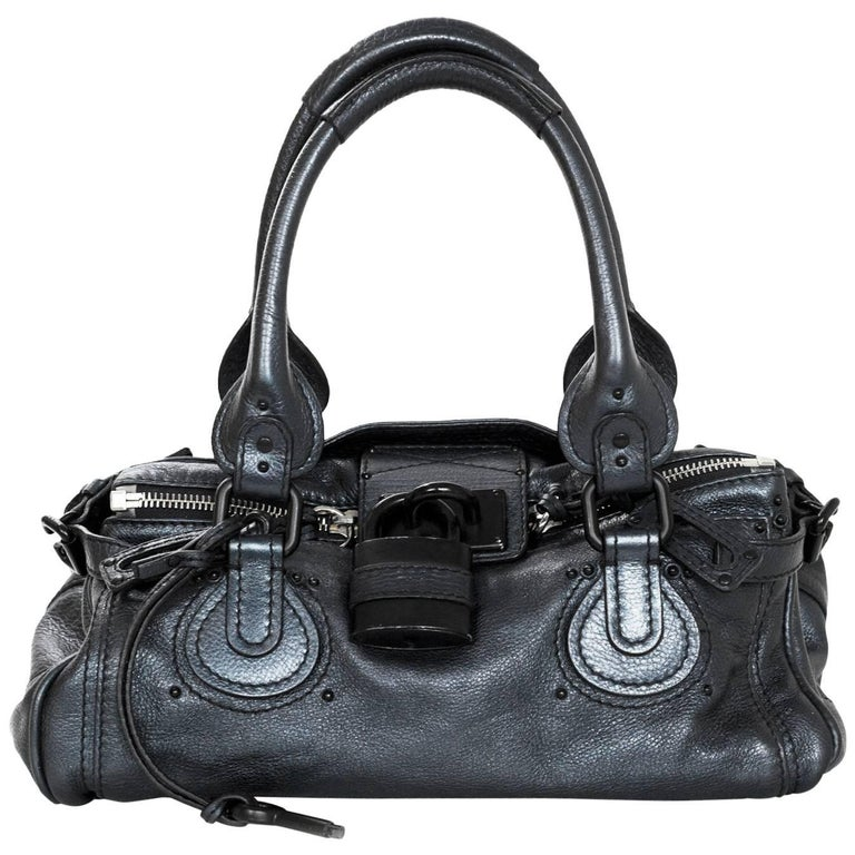 Chloe Blue Metallic Leather Paddington Bag For Sale