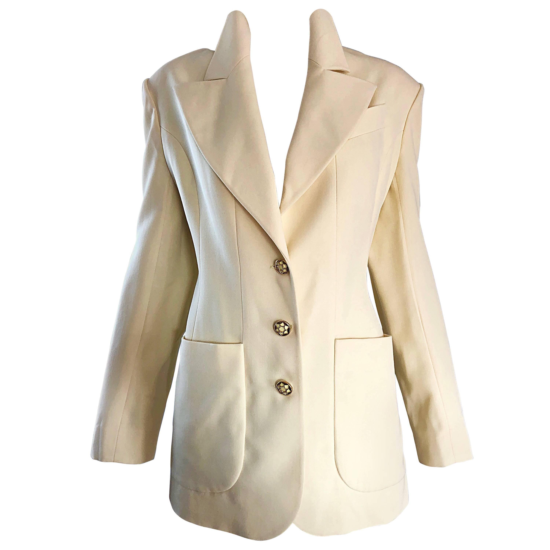Karl Lagerfeld Light Pale Yellow Size 12 - 14 Vintage Blazer Jacket,  1990s