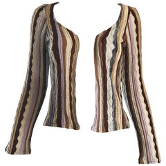 Missoni Vintage Pink Brown Ivory Striped Open Front Cardigan Sweater, 1970s