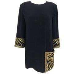Bob Mackie black crepe beaded black tunic mini dress, 12