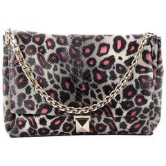 Valentino Rockstud Chain Soft Flap Bag Printed Python Medium