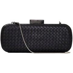Bottega Veneta Black Intrecciato Box Clutch Bag w. Shoulder Chain