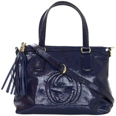 Gucci Navy Soft Patent Leather Soho Satchel Bag with Strap