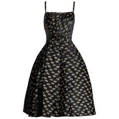1950s Suzy Perette Vintage Black + Metallic Gold Silk Satin Cocktail Dress