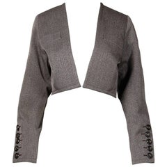 Yves Saint Laurent Vintage YSL Wool Tweed Tailored Cropped Bolero Jacket