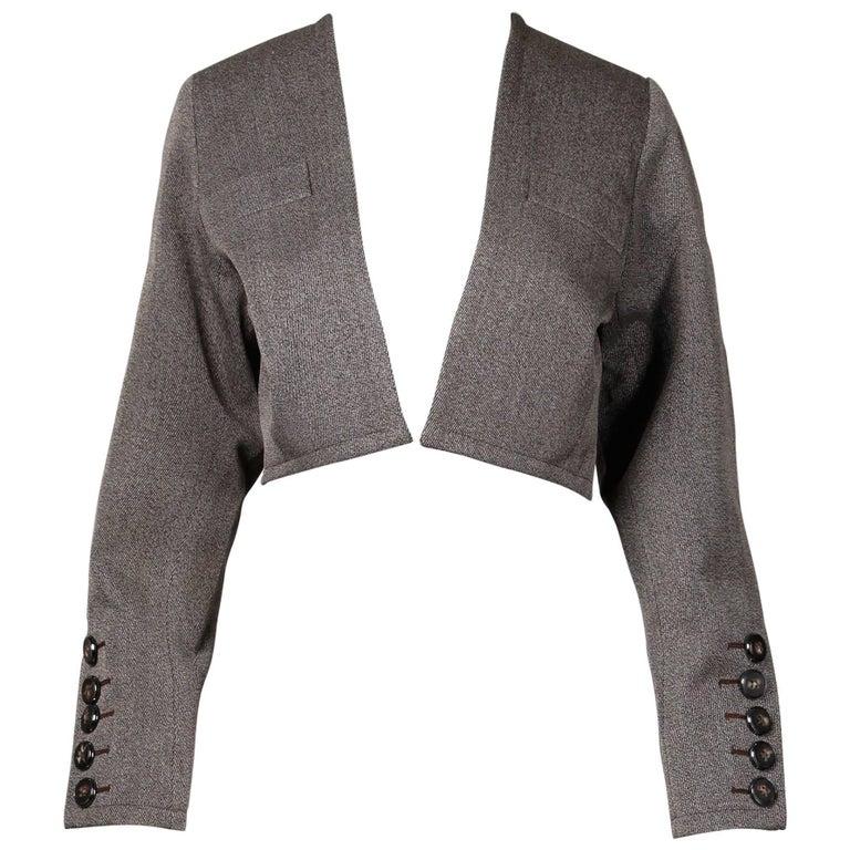 Yves Saint Laurent Vintage YSL Wool Tweed Tailored Cropped Bolero Jacket