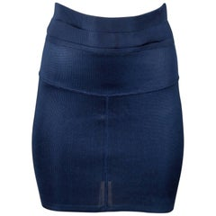 1990s Azzedine Alaia Vintage Sexy Blue Knit Body Con Mini Skirt