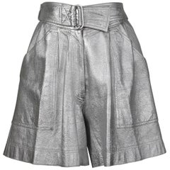 Krizia Vintage High Waist Metallic Silver Leather Shorts with Attached Belt