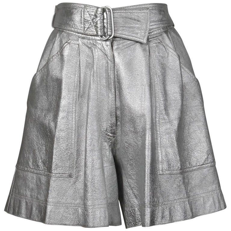 f2090545893b Krizia Vintage High Waist Metallic Silver Leather Shorts with Attached Belt For  Sale