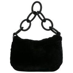 Black Orylag and Lamb Leather Chanel Shoulder Bag